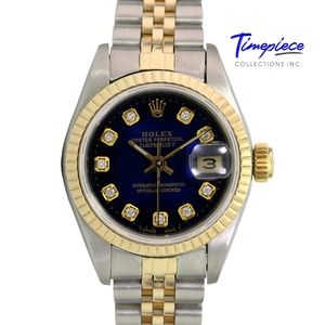Rolex Womens Datejust Blue Dial Fluted Bezel 26mm